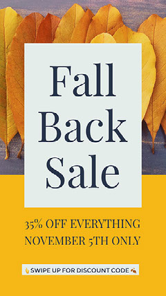 Yellow and White Modern Fall Back Sale Instagram Story Ad Fall