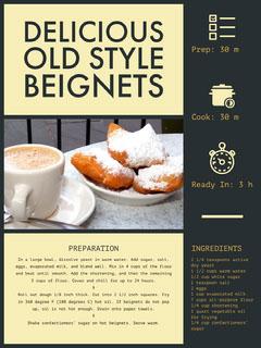 Yellow Beignet Recipe Card Dessert