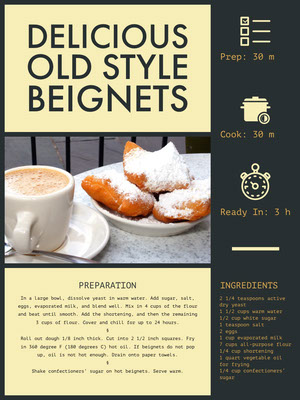 Yellow Beignet Recipe Card 조리법 카드