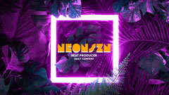 Pink Neon and Plants Beat Producer Youtube Channel Art Hip Hop Flyer