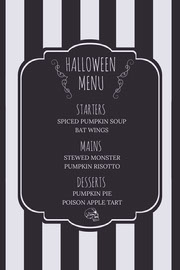 Black and White Stripes and Skull Halloween Party Menu Festa di Halloween