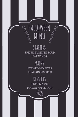 Black and White Stripes and Skull Halloween Party Menu Halloween Party