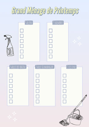 Purple and Yellow Spring Cleaning Checklist A4 Planificateur