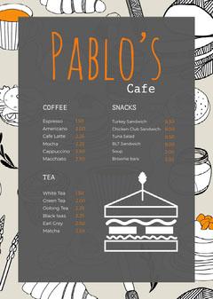 Grey Orange and White Cafe Menu Tea Time