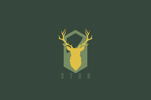 Dark Green Stag Business Brand Logo with Deer 標籤