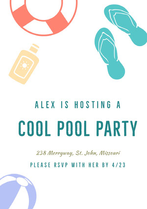 White and Blue Pool Party Invitation Party Invitation