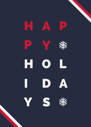 Blue and Red Typography Happy Holidays Card Christmas Card