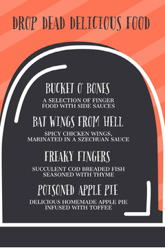Orange Striped Gravestone Halloween Party Menu Halloween Party Menu