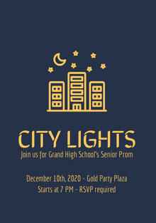 Yellow and Navy Blue Senior Prom Poster School Posters