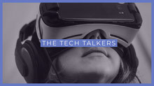 Grey and Blue Tech Talkers Banner Portada de Facebook