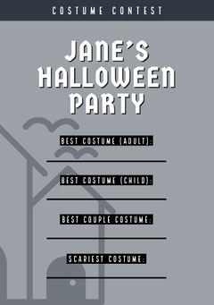 Halloween Murder Mystery Party Costume Card Halloween Costume Contest