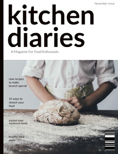White and Black Kitchen Diaries Magazine Cover Chef