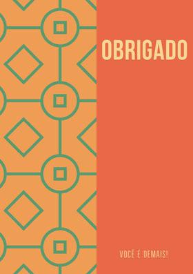 green patterned and orange thank you cards  Cartão de agradecimento