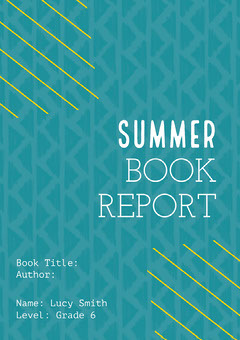 Yellow and Blue Summer Book Report A4 Homeschool Report Card