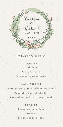 rustic wreath wedding menu  Menu de casamento