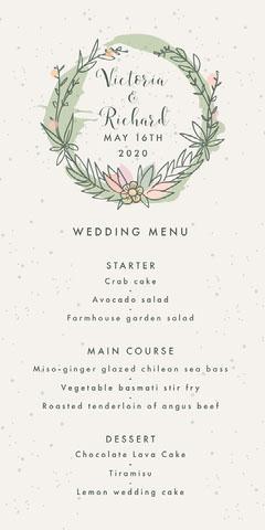 Rustic Wreath Wedding Menu  Rustic Wedding Invitation