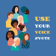 blue white yellow women's illustration  use your vote - instagram square  Political Flyer