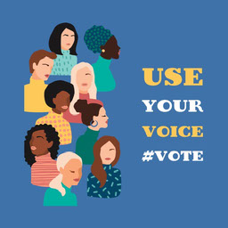 blue white yellow women's illustration  use your vote - instagram square