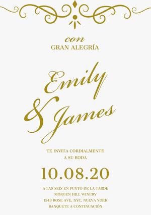 white and gold embellished wedding cards  Invitación de boda