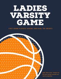 Dark Blue, White and Orange Basketball Game Poster Basketball
