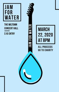 Blue Guitar Environmental Charity Concert Poster Awareness