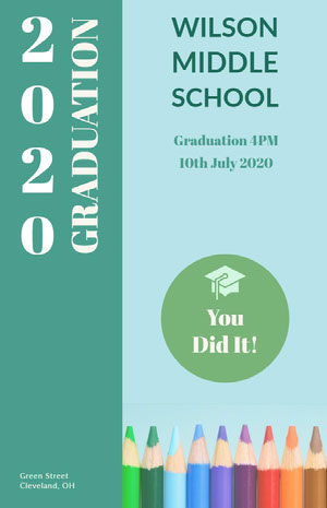 Blue and Green Graduation Poster Graduation Card