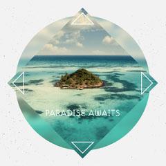 Aqua Blue & Grey Geometric Style Instagram Square Ocean