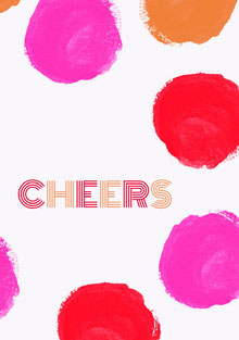 Colorful and White Cheers Card Tarjetas