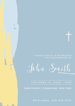 Pastel Colored Paint Confirmation Invitation Card Christianity