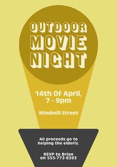 Yellow Outdoor Movie Night Flyer Movie Night Flyer