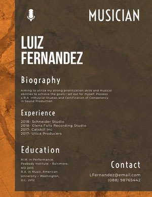 Brown and White Musician Resume Resume  Examples