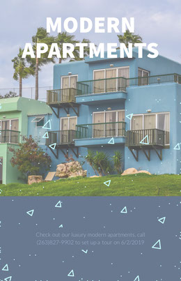 Blue Modern Apartments Real Estate Agency Flyer Prospectus immobilier