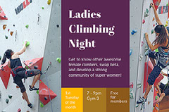 Yellow, Purple and White Ladies Climbing Night Facebook Banner Ladies Night Out Flyer