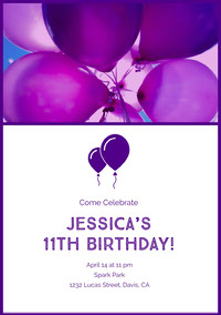 Violet and White Birthday Invitation Uitnodigingen