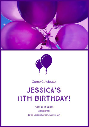 Violet and White Birthday Invitation Invitation