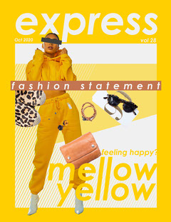 Yellow and White Collage Express Fashion Magazine Cover letter Fashion Magazines Cover