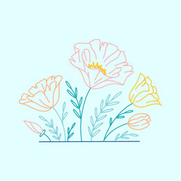 Blue and Light Toned Flower Drawing Instagram Post Illustration and Sticker Collection