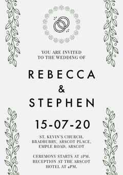Green Vines Elegant Wedding Invitation Card Rustic Wedding Invitation