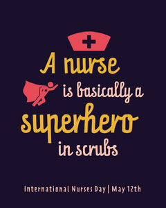 Black and Yellow Nurses Day Superhero Instagram Square  Superhero