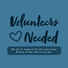 Blue Handwritten Typographic Volunteers Needed Announcement Instagram Square  Volunteer