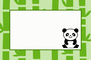 Green Asian Style Name Tag with Bamboo and Panda Etichetta nome