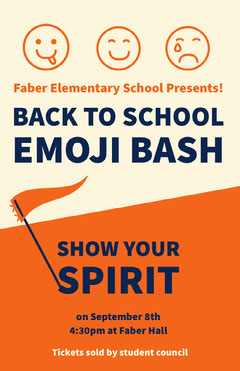 BACK TO SCHOOL EMOJI BASH Student Council Poster