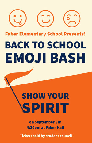 Orange White and Navy Blue Back To School Poster póster escolar