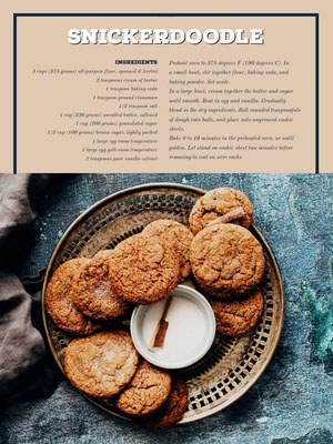 Beige Snickerdoodle Cookie Recipe Card 조리법 카드