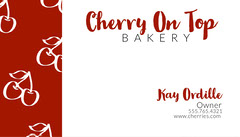 Red Patterned Baker Business Card Cakes