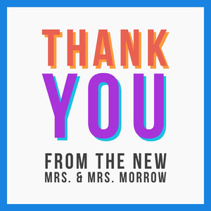 rainbow lgbt wedding thank you card  Thank You Card