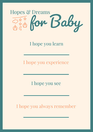 Green & Cream Hopes for Baby A5 Baby Shower Thank You Card