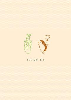 Orange You Get Me Hedgehog Card Cactus