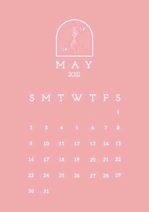 Pink and White Minimal May Calendar A5 Calendario mensile