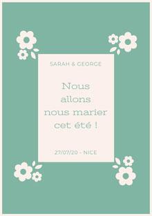 light blue and floral wedding cards Carte de remerciement de mariage